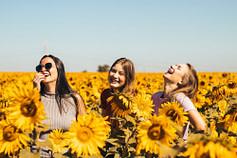 three girls in a field